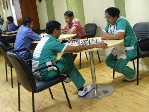 Nurses enjoying a game of chess
