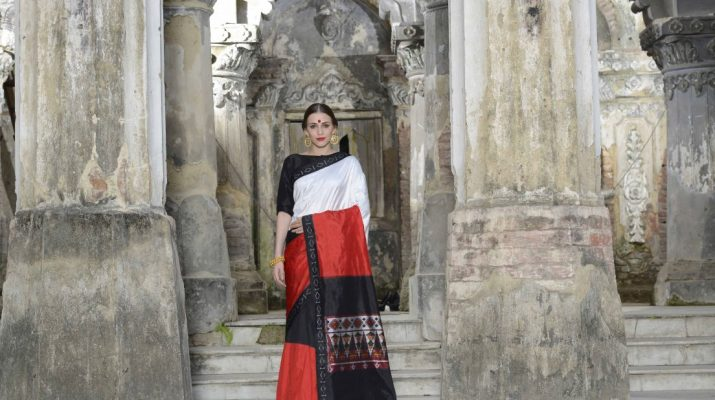 Ethnic Dukaan New collection saree black, red & white