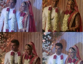 Karan Singh Grover - Bipasha Basu in Jaipur Jewels Brooch for his wedding