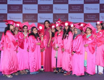 Lara Dutta felicitating scholarship winners at Fair & Lovely Foundation