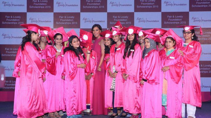 Lara Dutta felicitating scholarship winners at Fair & Lovely Foundation