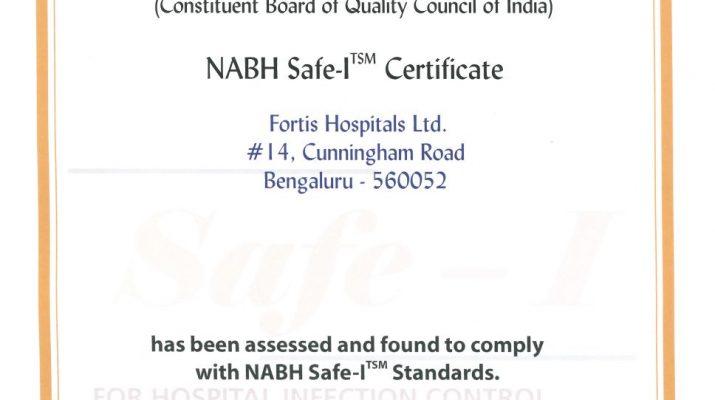 Fortis Hospitals, Cunningham Road bags NABH Safe – I Certification