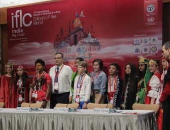Students from various countries in India to perfrom at ILFC 2016 with Mr. Bilal cordinator IFLC 2016