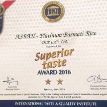 "Asbah the only brand from India to bag the ""Superior Taste Award 2016"" at Brussels"