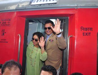 Bollywood Actor Boman Irani and Director Meghna Gulzar aboard India's 1st ever family food train - Kurkure Family Express in Mumbai