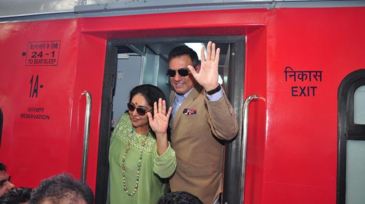 Bollywood Actor Boman Irani and Director Meghna Gulzar aboard India's 1st ever family food train - Kurkure Family Express in Mumbai