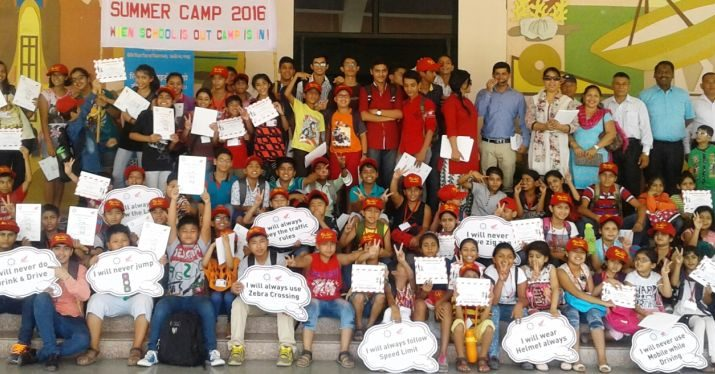 School children at Honda Road Safety Summer Camp - Honda Traffic Training Park - Jaipur
