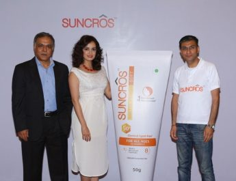 Subodh Marwah - Business Head - GCH - Abhay Gandhi - CEO - India Business - Sun Pharma and Dia Mirza at the launch of Suncros