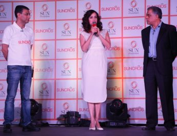 Subodh Marwah - Business Head - GCH - Abhay Gandhi - CEO - India Business - Sun Pharma and Dia Mirza at the launch of Suncros brand