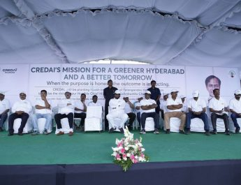 CREDAI Hyderabad plants 100000 saplings under Telangana Ku Haritha Haram Programme