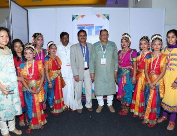 Dignitories and senior tourism officials along with the dance troop at Travel and Tourism Fair
