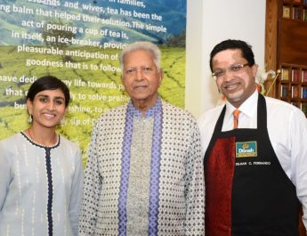 Dilmah Founder Mr Merrill J Fernando - Franchise Owner Dilmah t Lounge Mrs Ashumi Jain and Dilmah Director Mr Dilhan C Fernando