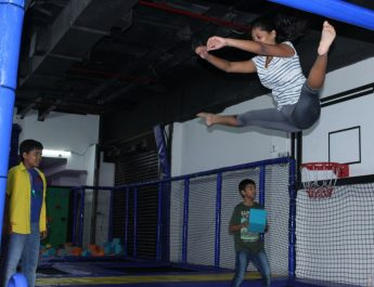 Kids and gymnast having a great time at Trampoline launch at Smaaash during their 1st Anniv celebrations