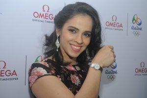 Saina Nehwal posing in Omega constellation watch