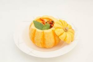 Small roasted pumpkin - Thai red vegetable curry in light coconut milk and Thai sweet basil