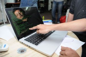 A participant coding at Indias first ever Botathon