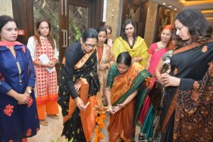 Lighting the lamp President Nasim Bano Khan at Indias First Women Political Party AIWUP Launched