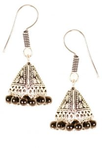 9680 Antique silver toned conical shaped jhumkas with intricate motif design - also has black bead details Rs 398
