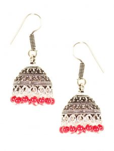 9685 Antique silver toned jhumkas with intricate motif design - also has red bead details Rs 398