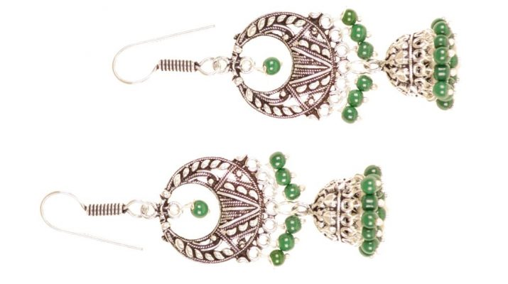 9691 A pair of antique silver toned jhumka earings with green beaded detail Rs 398