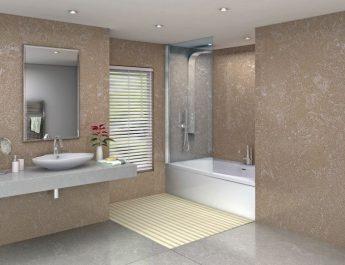 Bathroom with Trivoli on Floor Wall and Counter