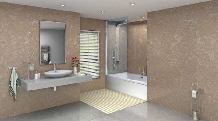 Bathroom with Trivoli on Floor Wall and Counter