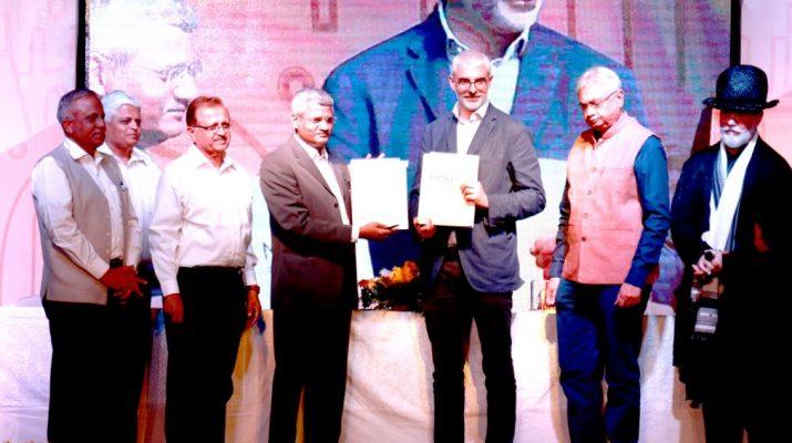 L-R - Prof ND Patil - CA Vilas Potdar - Pramod Gorhe - Dr PVS Shastri - Lyupo Lanzara - Rahul Mehta - Adrin Roberts