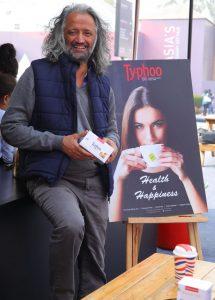 Samar Singh Jodha unveling the new variant Lemon and Honey green Tea at India Art fair