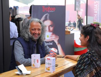Samar Singh Jodha with a friend relishing Typhoos new variant lemon and Honey green Tea