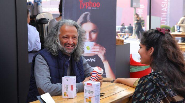 Samar Singh Jodha with a friend relishing Typhoos new variant lemon and Honey green Tea