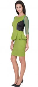 Shimmer Parrot green Bodycon Peplum dress 2