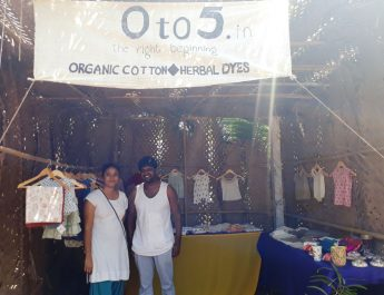 Swathy Minakshi and Abhinav Gangumalla founders of 0 to 5 organic cotton baby clothing at See Sharp Fest in Goa