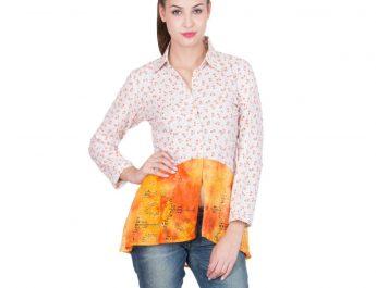White floral and orange embellished shirt 1