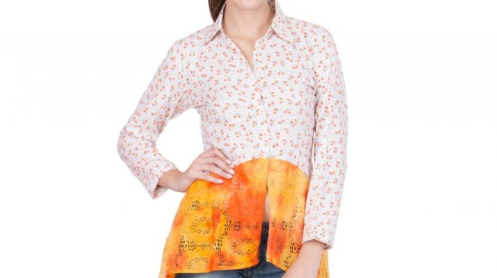 White floral and orange embellished shirt 1
