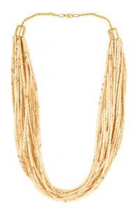9722 Beige beaded multistranded necklace - Secured with adjustable lobster clasp INR 499