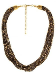 9723 Black beaded multistranded necklace - has gold beaded details - Secured with adjustable lobster clasp INR 499