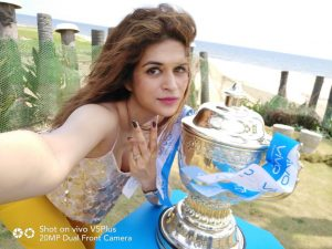 Actress Shraddha Das - VIVOIPL 2017 Trophy Tour makes a successful debut in Chennai