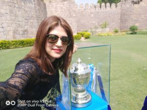 Actress Shradha Das poses with the VIVOIPL 2017 Trophy in Hyderabad