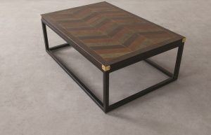 EDWARD LEATHER TOP COFFEE TABLE_Multi Finish - Top Front Three Fourth View
