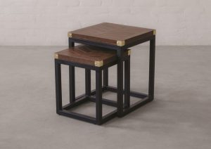 EDWARD LEATHER TOP NESTING SIDE TABLE_Chestnut_Front Three Fourth View