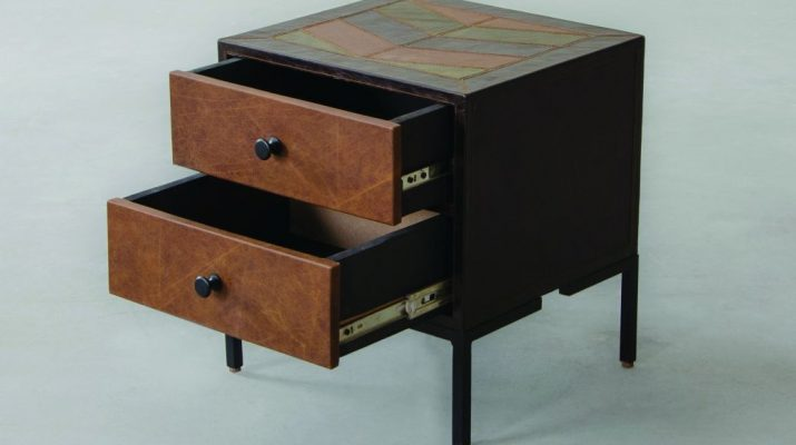 Edward Leather Chevron Side Table - Multi Finish - Top Front Three Fourth View