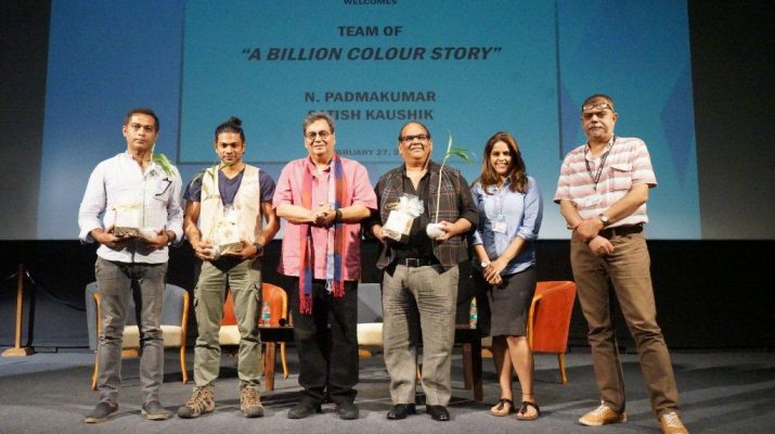 Lto R Gaurav Sharma - Padamkumar - Subhash Ghai - Satish Kaushik - Meghna Puri - Somnath Sen - Whistling Woods International