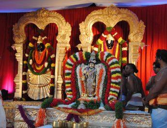 Sri Yadugiri Yathiraja Mutt of Melkote in Mandya in association with Tirumala Tirupathi Devastanams conducted Sri Srinivasa Kalyanothsavam at Sheesha Mahal, Palace grounds, Bengaluru.