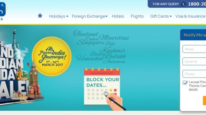 Thomas Cook India - The Great Indian Holiday Sale - Website