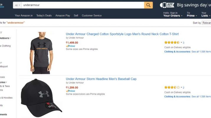 Under Armour Debuts in India on Amazon Fashion in India