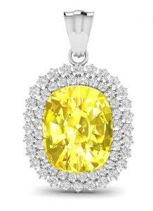 Virani Gems - Kate Shine Yellow Sapphire Pendant - INR 36905