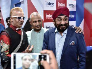Big Boss celebrity Imam Siddiqui - Somnath Bharti MLA with Amarjit Singh CEO - Intec India