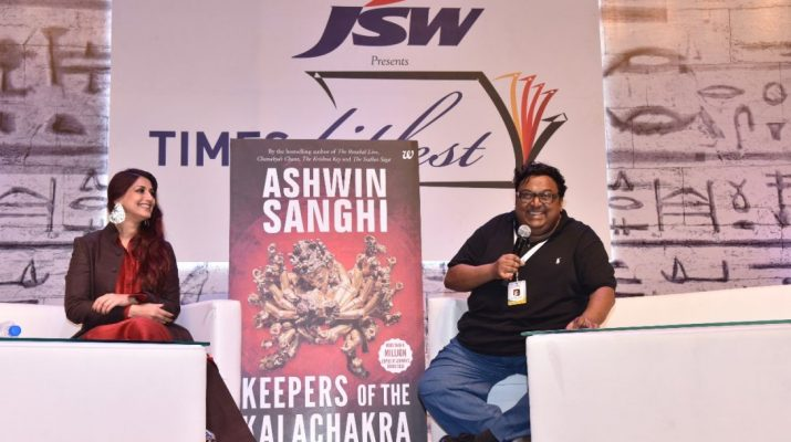Ashwin Sanghi launched the trailer of the much awaited Keepers of the Kalachakra with Sonali Bendre at Times Literature Festival 2