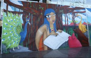 Brazilian Graffiti Artist Michael Devis at work at Stratford USA India Campus in Noida - Artworks 1