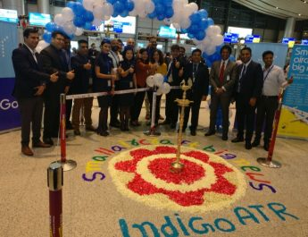 IndiGo commences ATR operations_Lamp lighting ceremony at Hyderabad